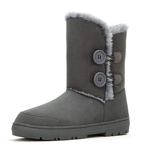 CLPP'LI Womens Twin Button Fully Fur Lined Waterproof Winter Snow Boots-Grey-7