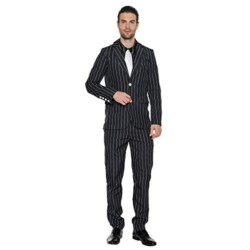 Eraspooky Men's 1920s Gangster Costume Wide Pin Stripe Suit Include Jacket Pants Shirt Front with Attached Necktie