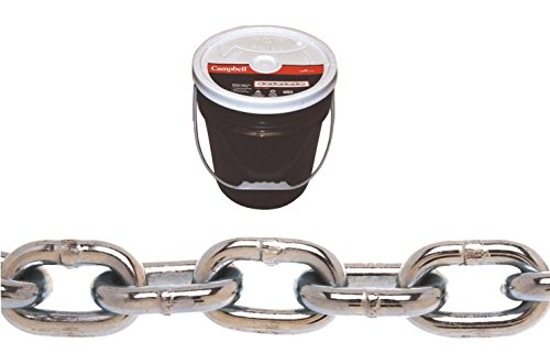 Campbell 0140523 System 3 Grade 30 Low Carbon Steel Proof Coil Chain in Round Pail, Zinc Plated, 5/16' Trade, 0.31' Diameter, 92' Length, 1900 lbs Load Capacity