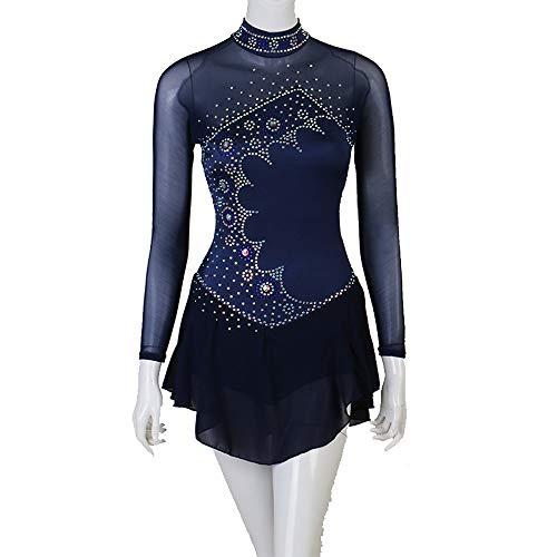 DCV Vestido De Patinaje Artístico Mujer Chica Azul Alta Elasticidad Competencia Ropa De Patinaje Cristal/Diamante De Imitación Falda De Patinaje sobre Hielo Traje De Patinaje,Blue-XXL
