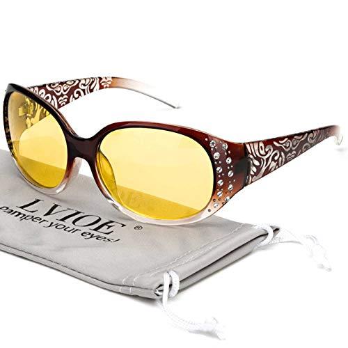 LVIOE Nachtsichtbrille mit polarisierter gelber Linse für Frauen Nachtfahrbrille für Regen/Nebel/Wolkenschutz 100{5b55b7af6dc687e41e6798e617e0ef0664e85bfc8fcbf3288ad7920a95cb1632} UV(Brown-Steigungs-Verpackung um Feld/Polarisierte gelbe Blendschutzlinse)