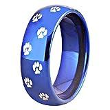 Tungsten Carbide Wedding Ring 8mm Silver/Black/Blue Dome Dog Paw Print Design, Comfort Fit (Blue, 8.5)