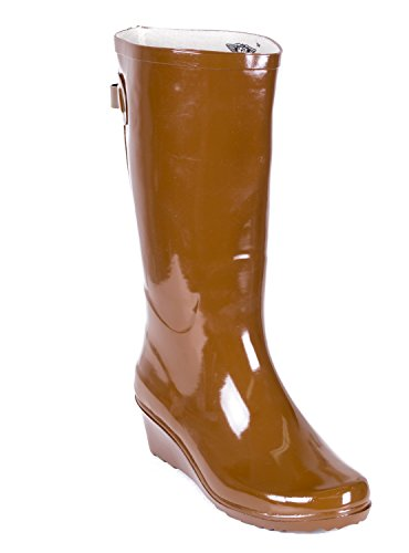 Forever Young Women Rain Boots, Wedge Heel Design Rubber Boots with Cotton Lining, Brown 8