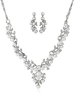 2Pcs Pearl Jewelry Set for Wedding Faux Pearl Vine Flower Leaf Filigree Necklace Earrings Set for Women Weddings Jewelry S...