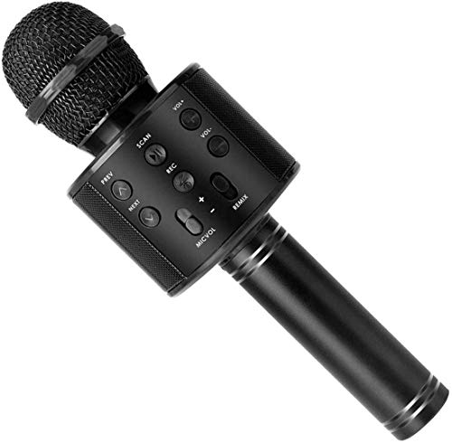 Handheld Wireless Singing Mike Multi-function Bluetooth Karaoke Mic with Microphone Speaker For All Smart Phones (Black)