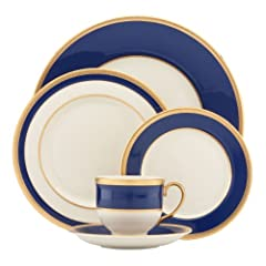 Crafted of Lenox white bone china Accented with 24 karat gold Dishwasher-safe shatter-resistant pitcher with 56-ounce capacity; soft-grip handle Made in the U.S.A Includes a dinner plate, a salad plate, a butter plate, a cup & a saucer