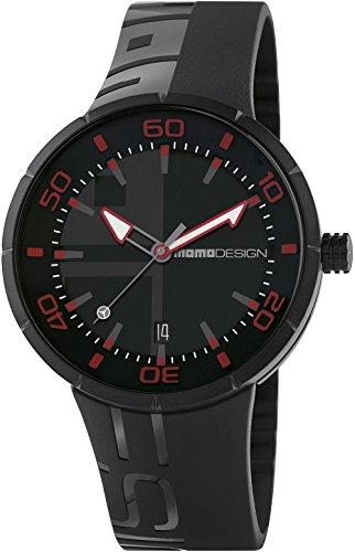 Momodesign Jet Black Reloj para Hombre Analógico de Cuarzo con Brazalete de Goma MD2298BK-21