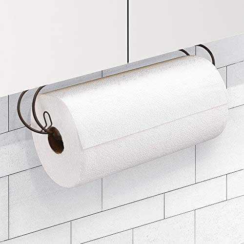 CAXXA Adhesive Under Cabinet Paper Towel Holder Dispenser with Screws for Kitchen Utility Room Laundry Pantry (1, Bronze)