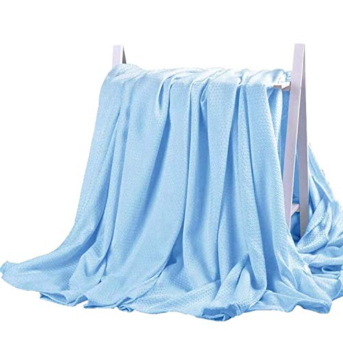 DANGTOP Cooling Blankets, Cooling Summer Blanket for Hot Sleepers, Ultra-Cool Cold Lightweight Light Thin Bamboo Blanket for Summer Night Sweats (79X91 inches, Large Blue)