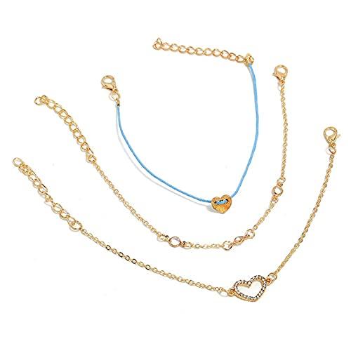 Denluns Juego de 3 pulseras ajustables de capas doradas, juego de pulseras apilables con apertura para mujeres, con cadena de mano ajustable,