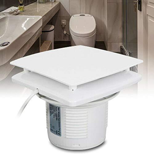 Ventilador extractor en línea, 100 mm, cuadrado, con válvula antirretorno, color blanco, cantidad de aire 100 m³/h, para baño, inodoro, cocina, invernadero