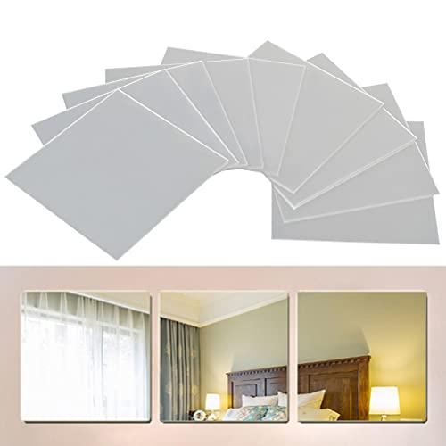 FOCCTS 9 Pz Specchio Fogli autoadesivi Non Vetro Specchio Piastrelle Parete appiccicoso Specchio per la Decorazione Domestica
