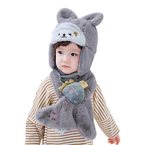 WFF sombrero Sombrero de piel sintética for bebés infantiles de niño pequeño conjuntos de punto de cabeza conjuntos con flaplap y patrón de conejito sombrero de invierno for niños 1-5 años gorro de pu