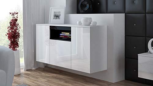 Furniture24 Kommode Viva Hängekommode Sideboard Wohnzimmerschrank mit 3 Türen Hängend oder Stand (Weiß/Weiß Hochglanz/Schwarz Hochglanz)