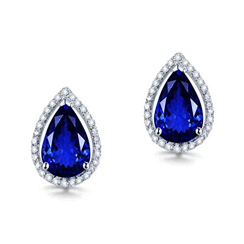 Daesar Pendientes Oro Blanco 18K Mujer,Gota de Agua Tanzanita Azul 3.2ct Diamante 0.23ct,Plata Azul
