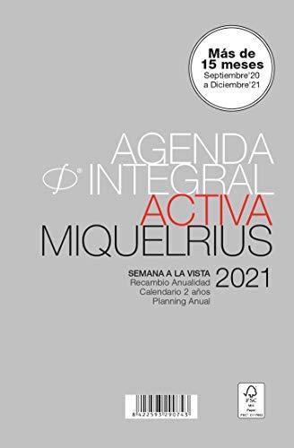 MIQUELRIUS - Recambio para agenda 2021-6 Anillas, Tamaño ACTIVA 117 x 182 mm, Semana a la Vista, Idioma Castellano