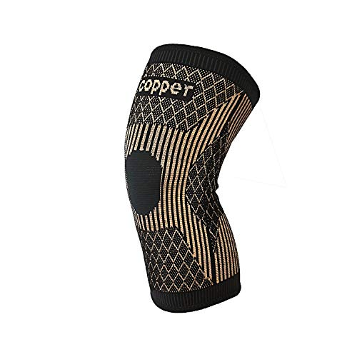 Copper Knee Brace -Copper Knee Sleeve Compression For Sports,Workout,Arthritis Pain Relief and Support-Single (M)