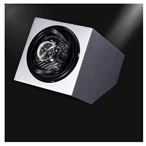 CHYOOO Reloj Caja Lujo Automático Rotación Watch Winder Pintura para Piano Motor Mabuchi Silencioso Visor de Vidrio Acrílico 1 Relojes Caja Almacenamiento Reloj (Color : Silver)