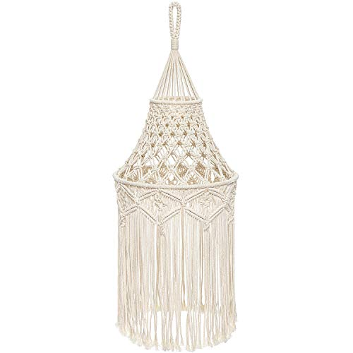 Mkono Macrame Lamp Shade Boho Hanging Pendant Light Cover...