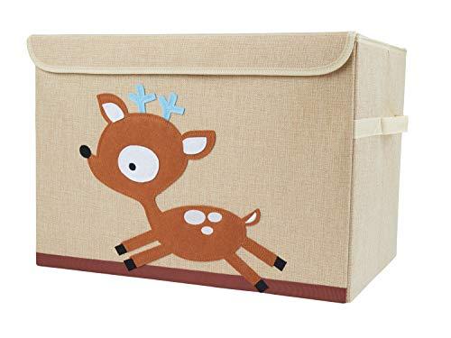 Bieco Aufbewahrungsbox mit Deckel | Reh Motiv 65L faltbar | ca. 36x36x51cm | Spielzeugkiste mit Deckel | Aufbewahrungsbox Kinder | Kisten mit Deckel | Aufbewahrungsbox Groß | Wickeltisch Organizer