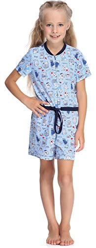 Merry Style Mädchen Overall Short Schlafstrampler Strampelanzug MS10-267(Blau/Hunde/Katze, 158-164)