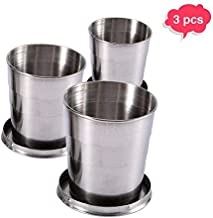 3PCS Collapsible Cup, Portable Reusable Stainless Steel Travel Cup with Lids, Expandable Folding Camping Cup Set-Coffee, Water, Tea, Snacks Mugs for Hiking, Camping, Picnic 2.5 oz, 4.7 oz, 8.2 oz