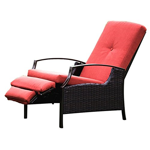 NATUREFUN Indoor/Outdoor Wicker Adjustable Recliner Chair | Relaxing Lounge Chair with Thick Spunpoly Cushion