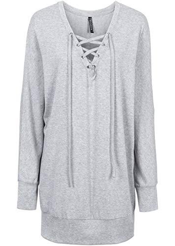 Versandhaus Damen Relax-Strickshirt, 273804 in Hellgrau Meliert 32/34