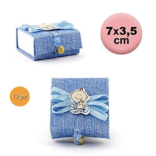 takestop® gastengeschenkdoos, vierkant, 12 stuks, 7 x 3,5 cm, stoffen doos, snoepjes voor confect, geboorte, doop, meisjes, jongens, Lichtblauw.