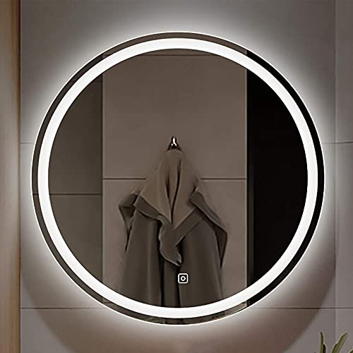 ZCZZ Espejo, Moderno Redondo LED Baño Hotel/Sala de Estar Espejo cosmético Espejo Decorativo de Pared Dormitorio Espejo cosmético Sensor táctil + Antivaho 50cm / 60cm / 70cm