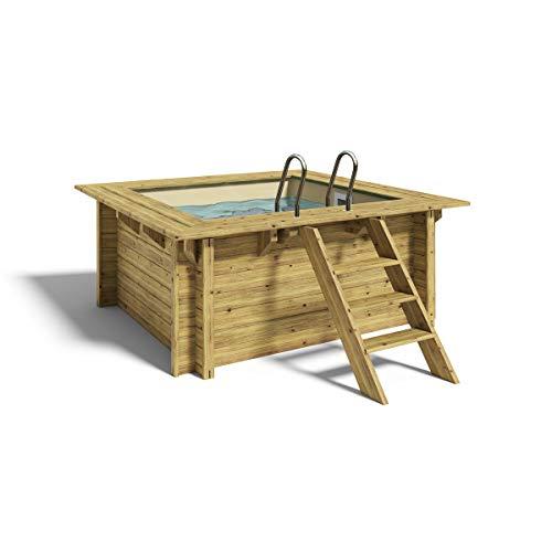 Paradies Pool® Holzpool Lulu Platin Komplettset inkl. Filteranlage für 50er Verrohrung + Filterglas, Folie Sand mit 0,8mm Stärke, Viereck-Pool, 200 x 200 x 104, Menge: 1 Stück