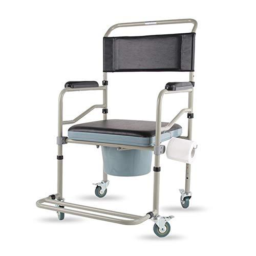 SXRL Toilettenstuhl Fahrbar Auf Rollen mit Fußpedal und Einem Toilettenpapierhalter Dusche Stützhandlauf Toilette für Großeltern Senioren