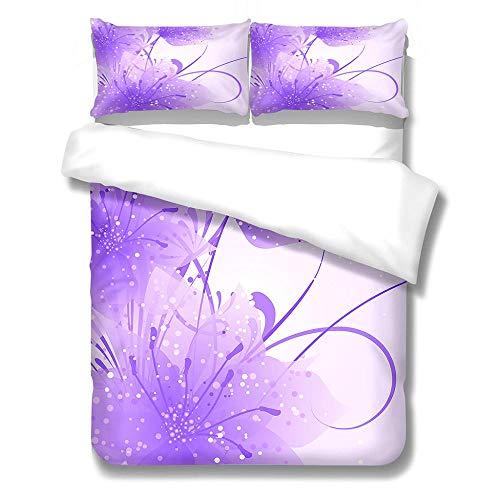 Juego De Ropa De Cama 3 Piezas Flores Púrpuras del Doodle 3D Microfibra Hipoalergénica 1X 140X210Cm Fundas para Edredón+2 Fundas De Almohada Niños Y Adultos