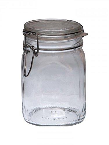 Bormioli Tarros de Vidrio con Cierre hermético Fido, 1 litro