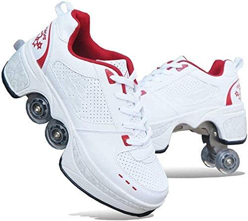 FLY FLU 2-in-1-Mehrzweckschuhe,Doppelte Fahrbare Rollen-Schuhe - Für Jungen-Mädchen-Kinderrochen-Schuhe Mit Vier Rädern, Rollschuhe Schuhe Mädchen Jungen Radschuhe Kinder Rad Turnschuhe,B-39
