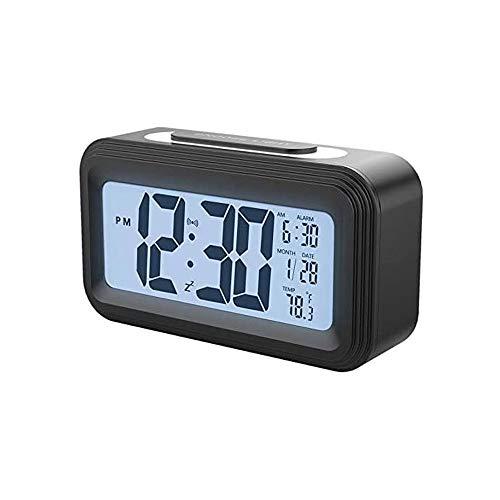 YUYANDE Reloj de Alarma Digital de Temperatura de Humedad Interior, luz Nocturna Inteligente, Soporte para baterías Small Easy Sky Techo de Noche Reloj para Habitaciones (Negro)
