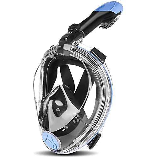 NZQK Juego de máscara de buceo con sistema de respiración segura con tiras ajustables y soporte de cámara de acción antivaho y antifugas para adultos L/XL