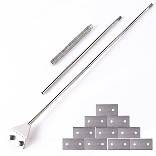 Stainless Steel Scraper Cleaner with 10 Right Angle Blades for Aquarium Fish Plant Glass Tank, 25.5 inches Length