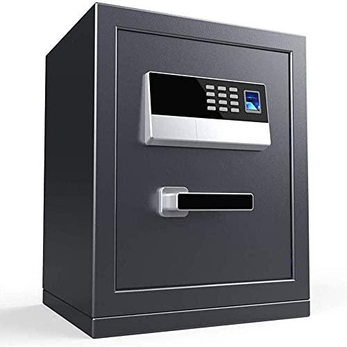 XiYou Caja de Seguridad Segura, contraseña de Huellas Dactilares para el hogar, pequeña, Completamente de Acero, antirrobo con batería, gabinete Interior con Llave para ingresar