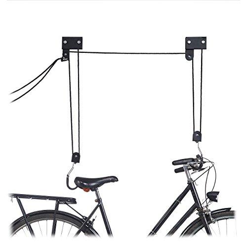 Relaxdays, schwarz Fahrrad Deckenlift, 57 kg Traglast, mit Haken, universal, mit Seilbremse, Seilzug, Kajak, Fahrradlift, One Size