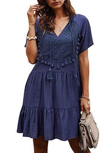 Doballa Damen Boho Tunika Hippie Kleid Gestickt Blumen Mexikanische Bluse (XL, Massiv Blau)