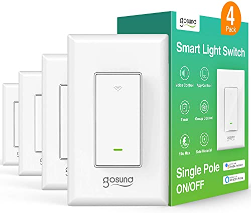 Smart Light Switch, in-Wall WiFi Smart Switch That Work with Alexa and Google Home, No Hub Required, Neutral Wire Needed, Single-Pole 15A, Etl and Fcc Listed,4 Pack, White