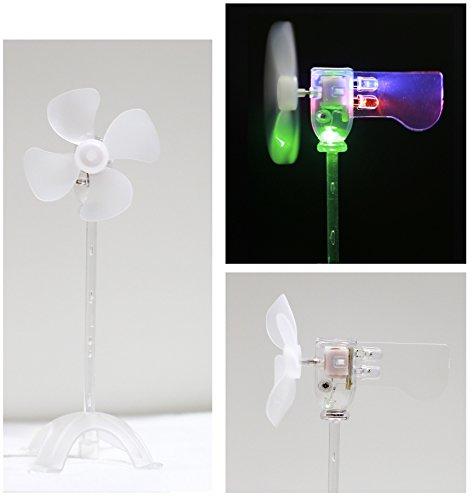 LED風車,風力発電実験モデル・小型発電機を内蔵する,電池なし・省エネ科学実験に適用する,自由研究と想像力を育成する・奇妙な趣もしおもちゃや装身具 (D .緑+赤+青)
