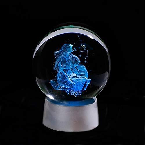 3D Zodiac Crystal Ball 12 Constelaciones Globo de Cristal Decoración del hogar Esfera Colorido LED Luz Horóscopo Ornamento Signo del Zodiaco (Color : Virgo, Size : 8cm Ball)