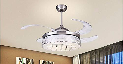 Plafondventilator met lamp voor slaapkamer, kroonluchter, LED-lampen, eenvoudige stijl, wanddimmer, 60 W, diameter 107 cm