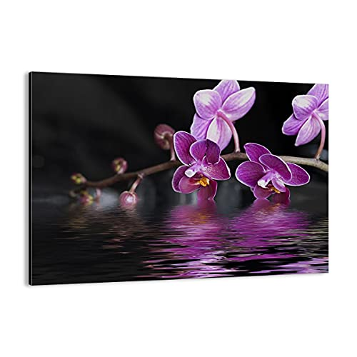 Quadro su tela - Elemento unico - Asia esotico orchidea fiore - 70x50cm - Pronto da appendere - Home Decor - Stampe su Tela - Quadri Moderni - completamente incorniciato - AA70x50-2312