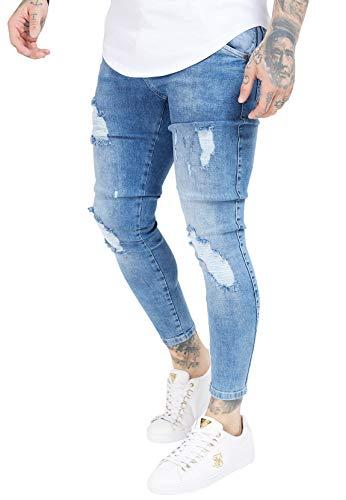 Sik Silk Jeans Herren Distressed Skinny Denims SS-19354 Midwash, Größe:XXL