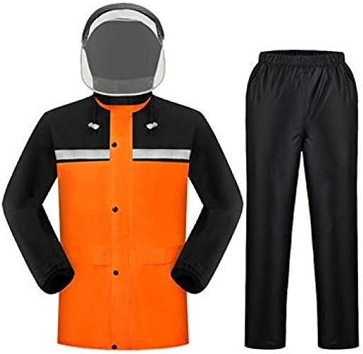 Llsdls Imperméable imperméable Ensemble de Pantalons de Pluie imperméable à Capuche en Plein air Coupe-Vent Occasionnel Zipper imperméable Alpinisme (Couleur   Orange (with Mask), Taille   XL)