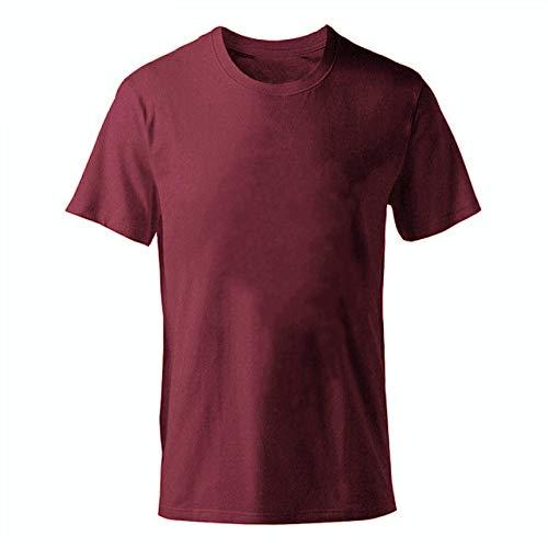 DSHRTY Sommeroberteil,Einfarbiges T-Shirt Herren Baumwolle T-Shirts Sommer Kurzarm T-Shirt Boy T-Shirt Tops Plus Größe XS-M-XL, Weinrot, L.