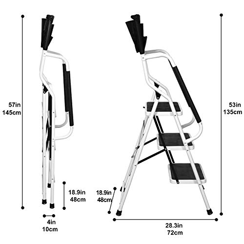3 Step Ladder Tool Ladder Folding Portable Steel Frame MAX 500 lbs Non-Slip Side armrests Large Area Pedals Detachable ToolBag Suitable for Home Office Engineering